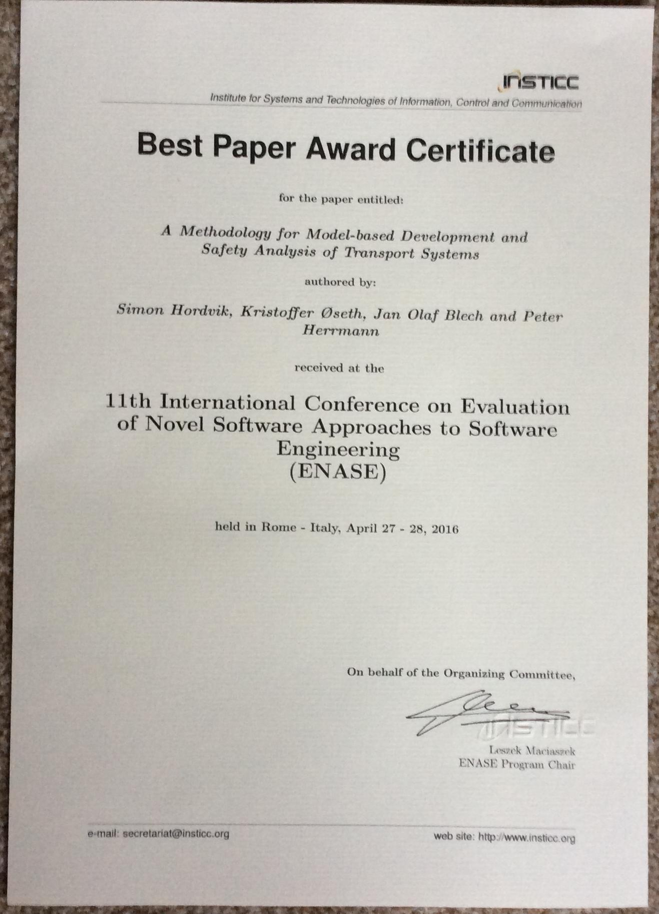best paper award jan olaf blech
